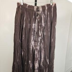 Nine West Women Tiered Tie Dyed Brown Skirt Sz M